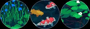 koi fish pixel circle divider f2u by cal-vain