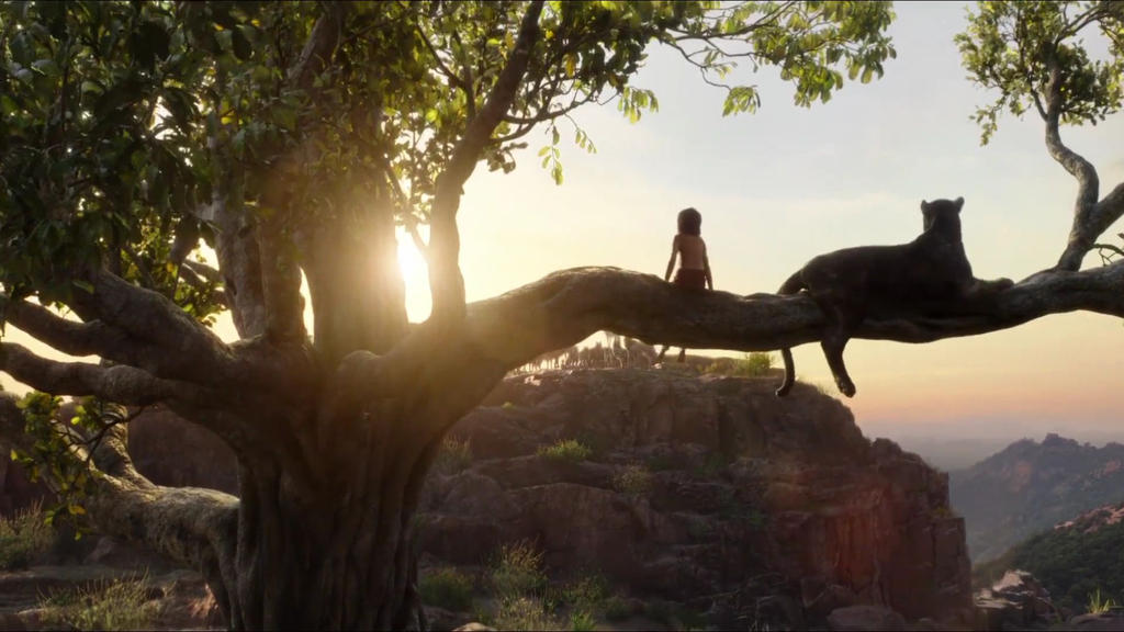 Mowgli, Bagheera and a Sunset by KateHasBoobs