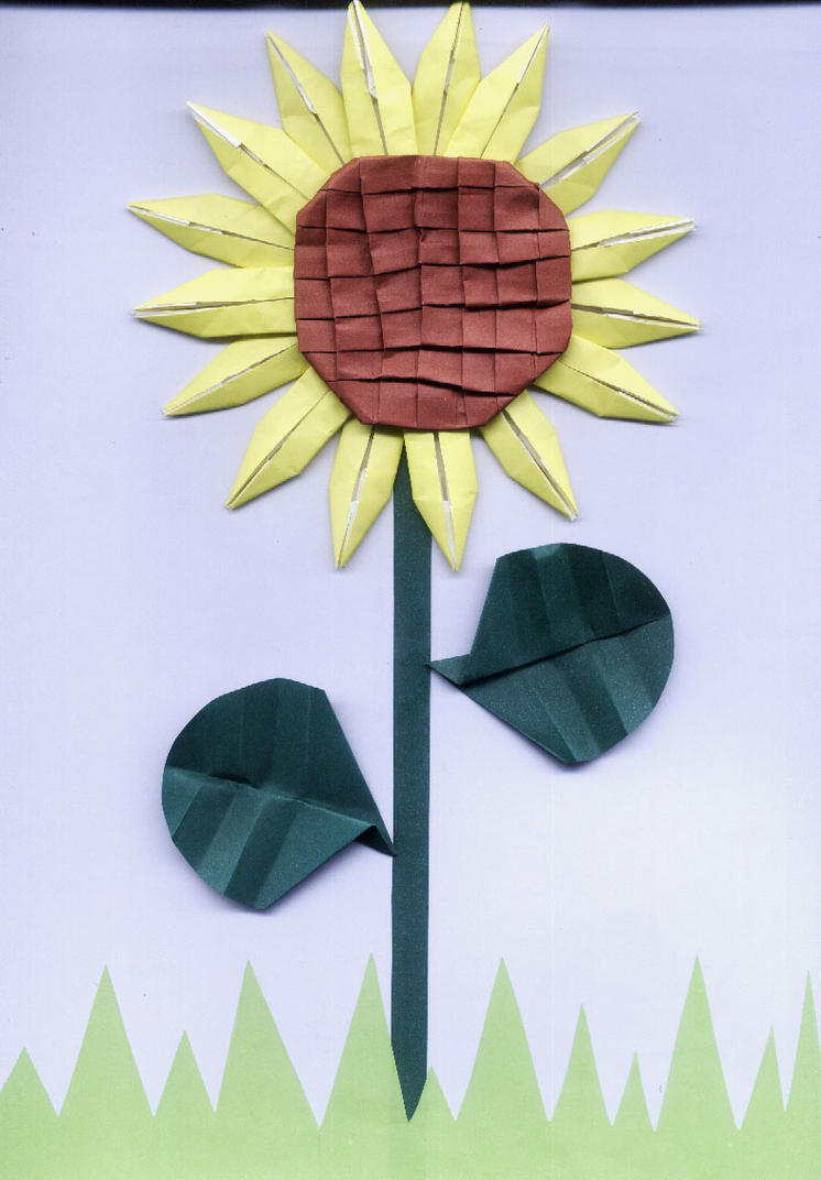 Origami sunflower by junia on deviantart jeuxipadfo Gallery