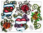 Hearts and Roses Tattoo Flash Sheet