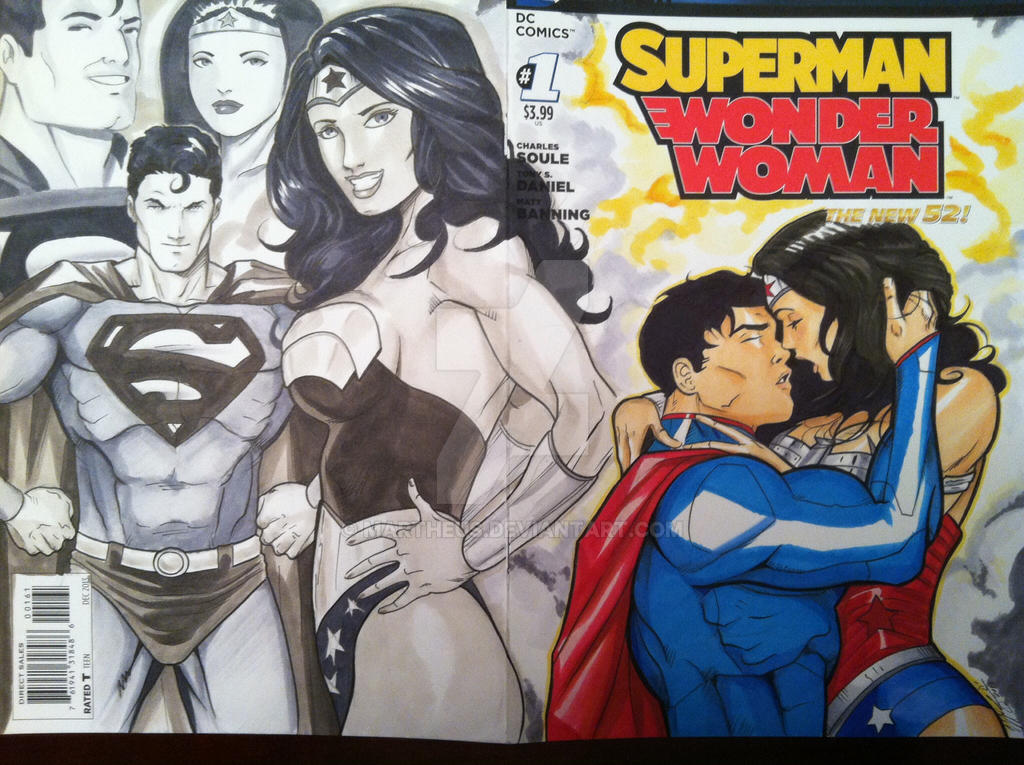 Superman Wonder Woman 1 sketch cover finished by martheus