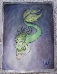 Swimming deep Watercolour