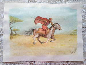 Riding warrior woman in watercolour