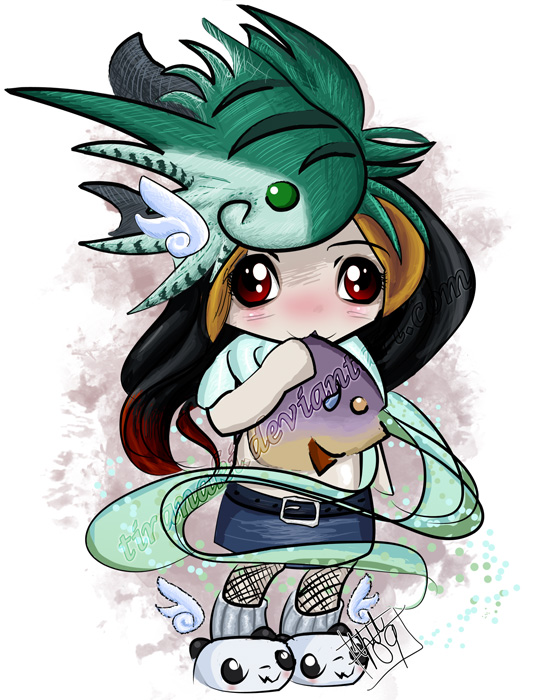 Chibi -Naki Wants Fish by tiranaki