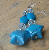 Turquoise Lucky Star Earrrings by tiranaki