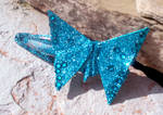 Blue Origami Butterfly Barrett by tiranaki