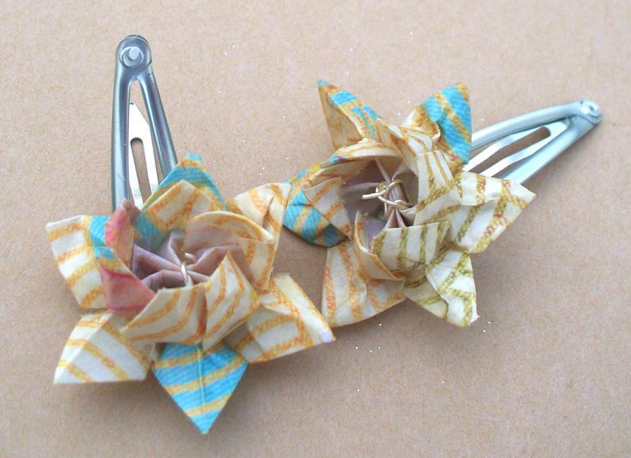Origami Lotus Flower Barrettes by tiranaki