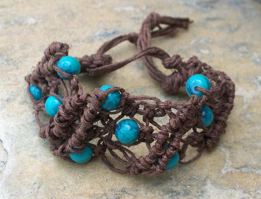 Hemp Turquoise Beads Bracelet by tiranaki