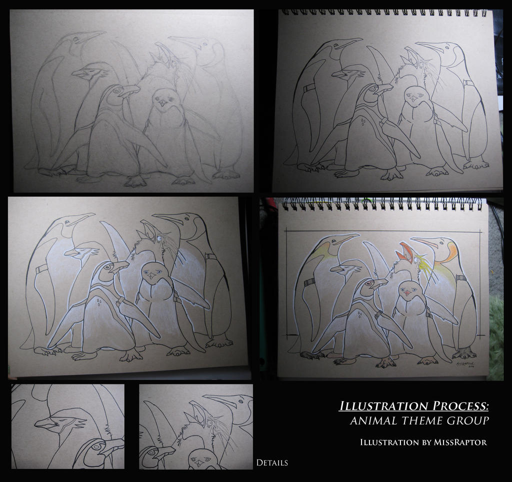 Penguin group illustration by MissRaptor
