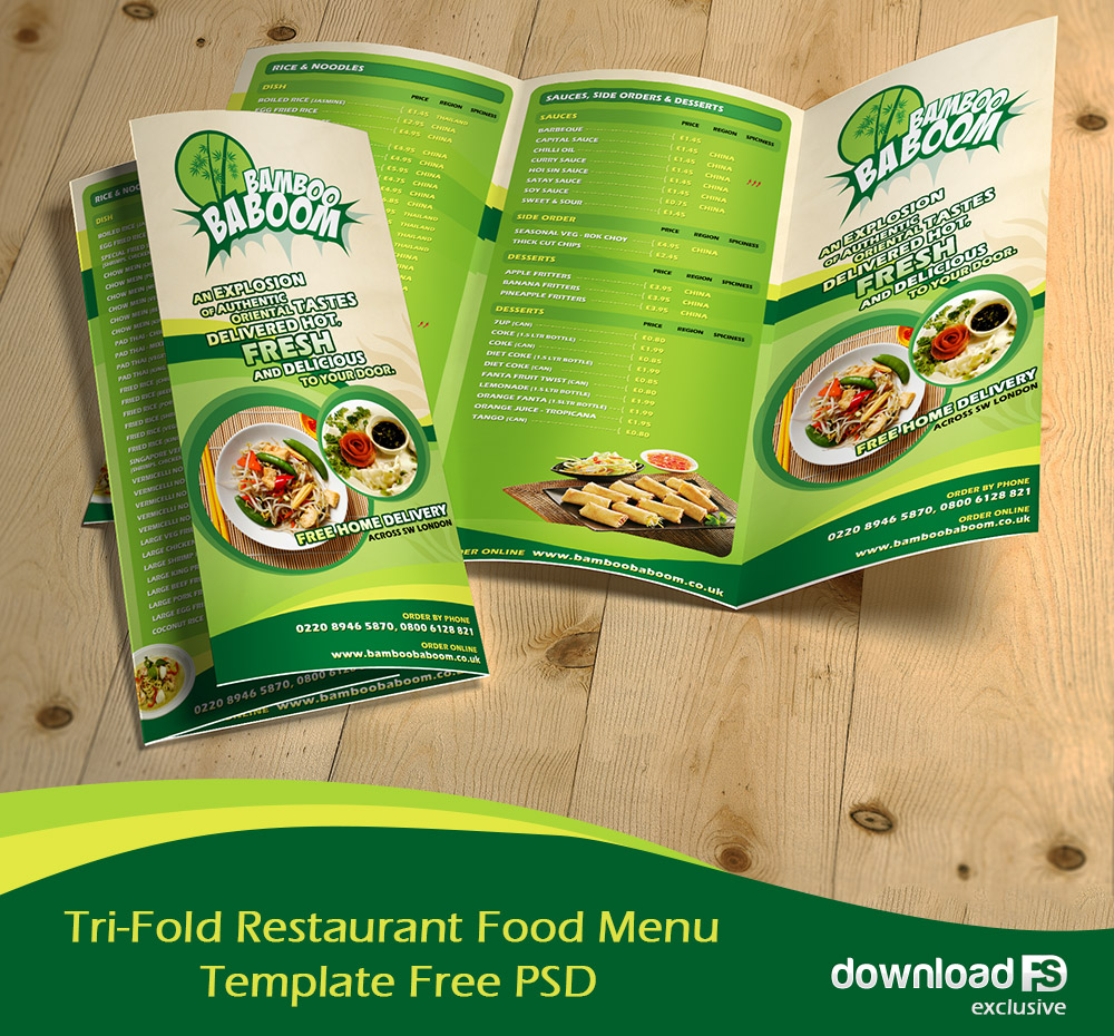 Tri Fold Restaurant Food Menu Template Free Psd By Amandhingra On