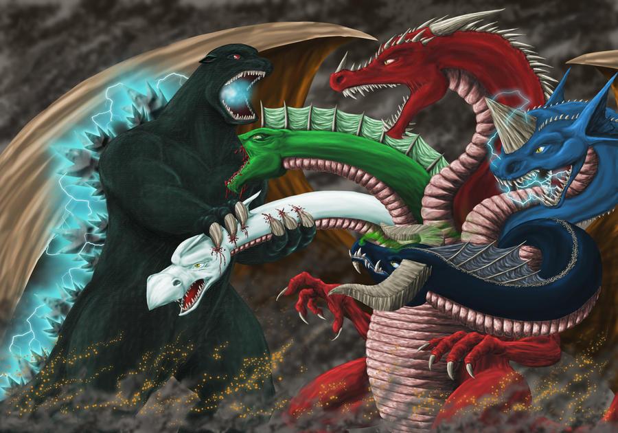 Godzilla vs. Tiamat by AndrewDeFelice