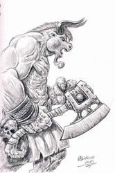 Minotaur sketch by AndrewDeFelice