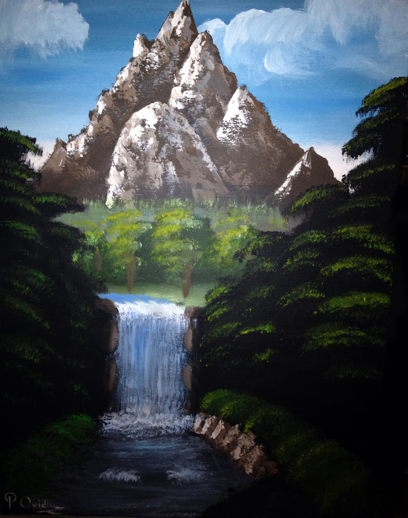 Mountain waterfall painting by ovidiuprotopopescu on deviantart mountain waterfall painting by ovidiuprotopopescu altavistaventures Images