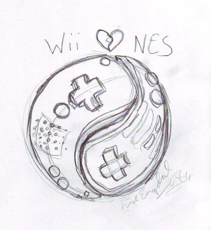 YinYang Nintendo Tattoo sketch