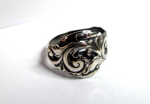 Rosepainting ring in silver