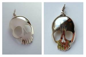 Silver teaspoon skull pendant