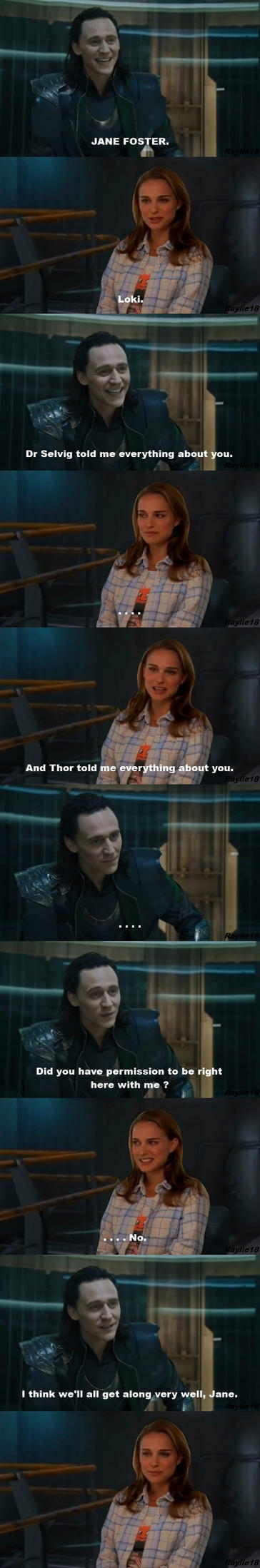 Thor: Loki /Jane-first meeting by Raylie18