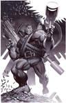Hulk With Guns- Marker Illo
