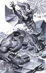 Hulk battles Thor