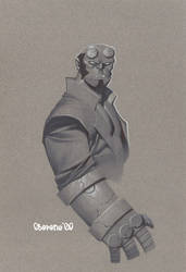 Hellboy color paper test by ChristopherStevens