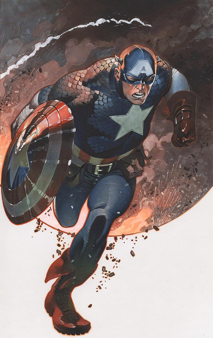 Captain America in action by ChristopherStevens