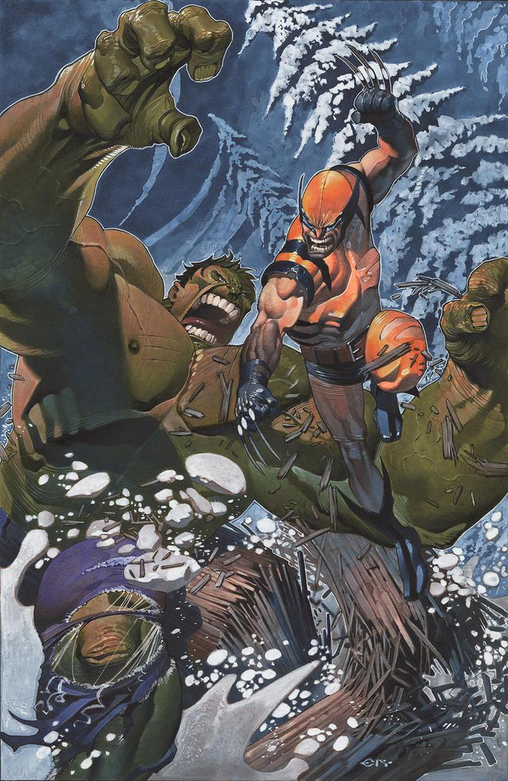 Hulk battles Wolvie by ChristopherStevens