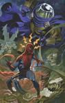 Spider Man battles Mysterio