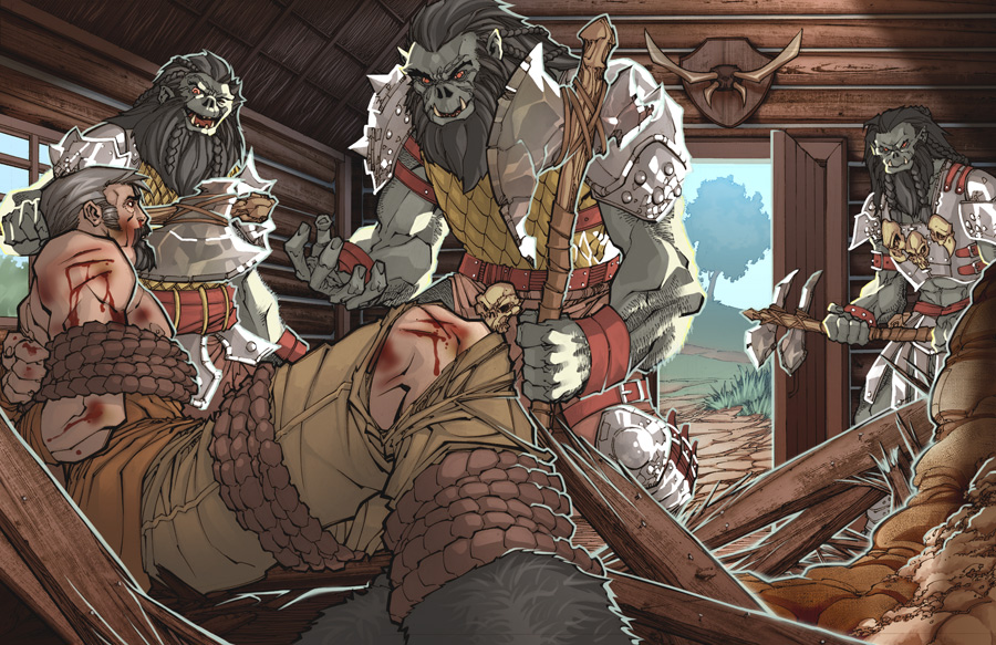 Orcs and Prisoner by Christopher Stevens