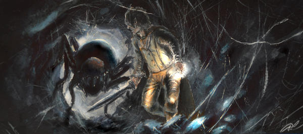 Frodo and Shelob by RoterOtto