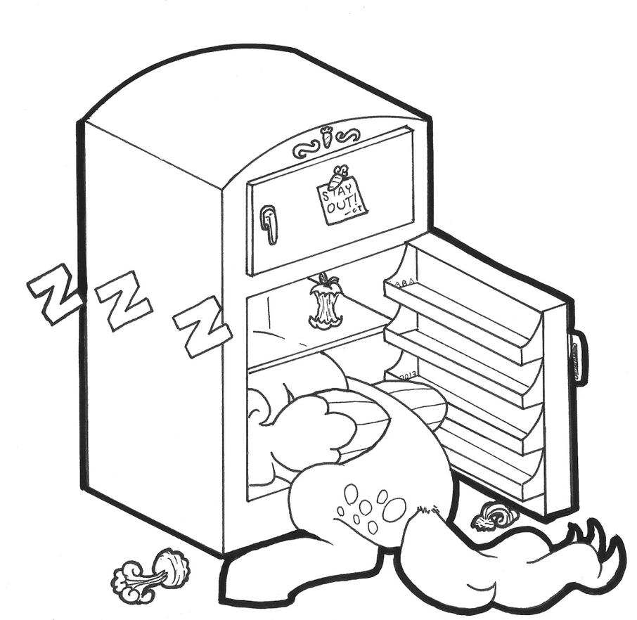 refrigerator coloring page - empty fridge drawing