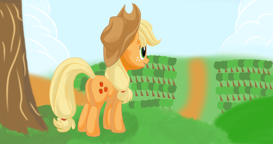 Applejack at sweet apple acres by pukihontasz