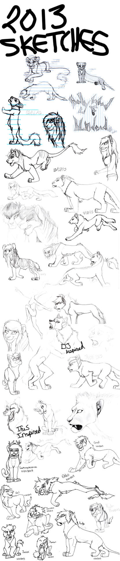 Traditional Sketch Dump 2013 by IzzyShea