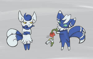 Meowstic and Flabebe by notabondvillain