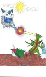 Mega Sceptile vs Mega Glalie by robotman25