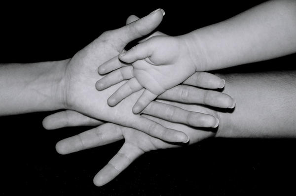 Family hands.