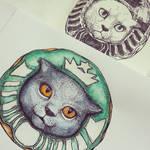 Starbucks cat by Ekimma