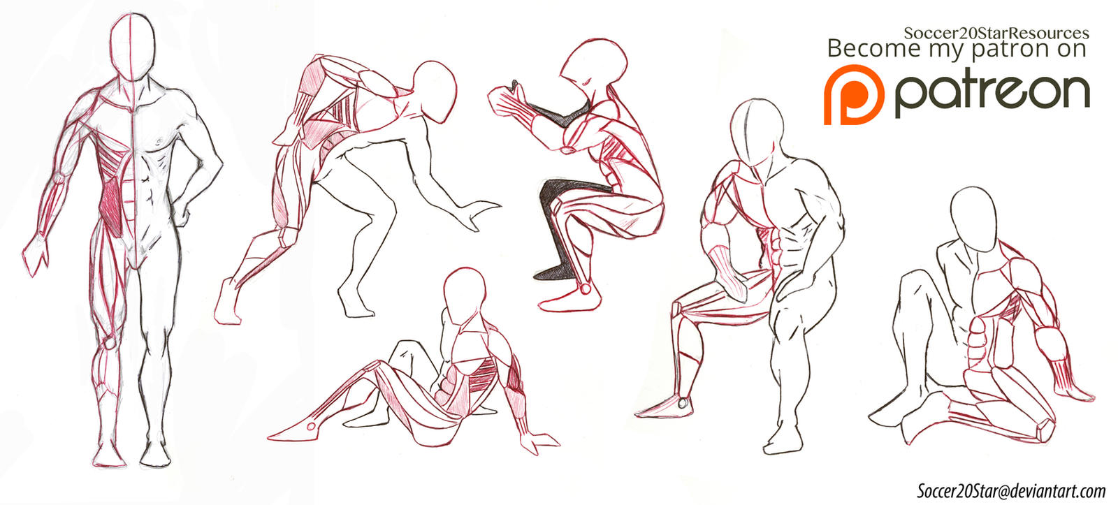 Anatomy 5 Poses Full body muscles by CourtneysConcepts on DeviantArt