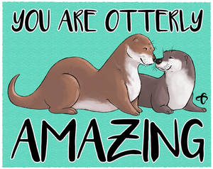 Valentines Day Otter Kisses - Quote - Card copy