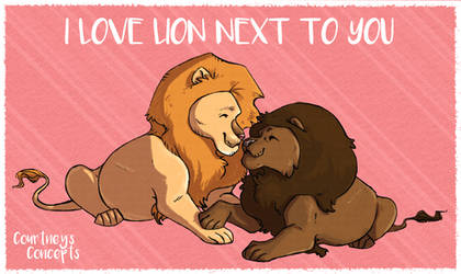 Pencil Line Art - Male Lions- small- Valentines Da by CourtneysConcepts
