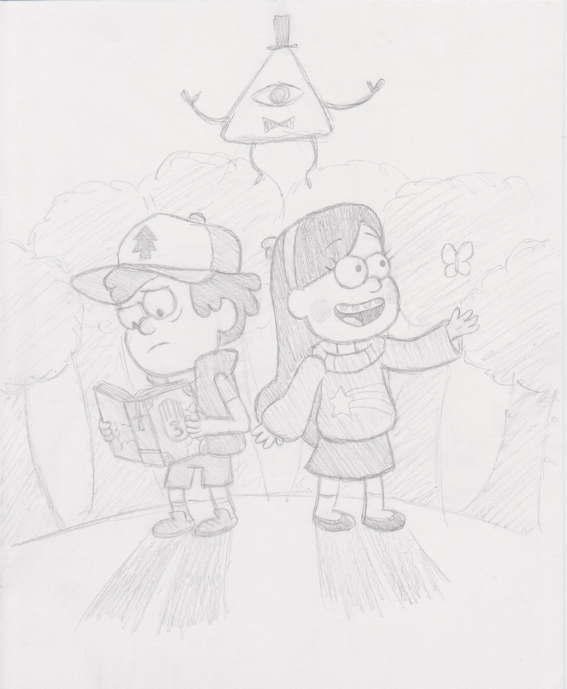 Gravity Falls - Dipper, Mabel, and Bill by The-Bryce-Is-Right