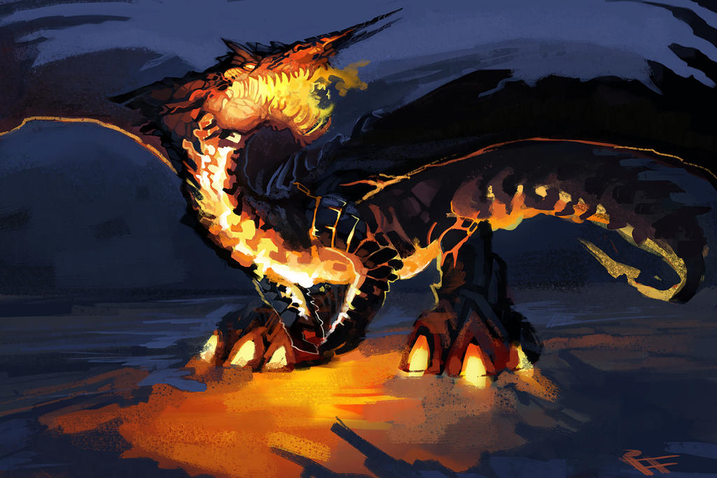 Volcanic Dragon Quickie Speedpaint by ALRadeck