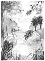 florida wildlife - chinese ink by ereptor