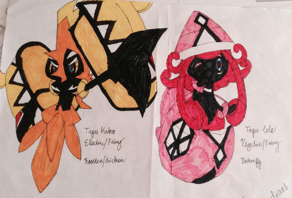 Pokemon Tapu Koko Tapu Lelecolored By Velatina Young On