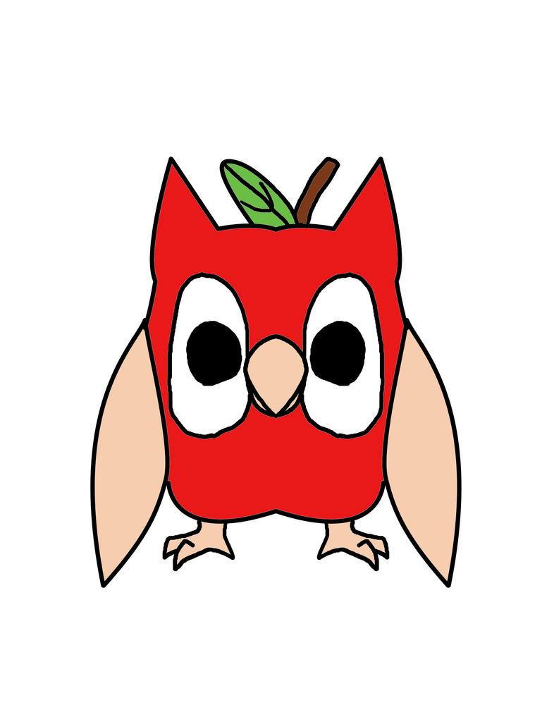 Cartoon Apple Owl by GoldFishArmada