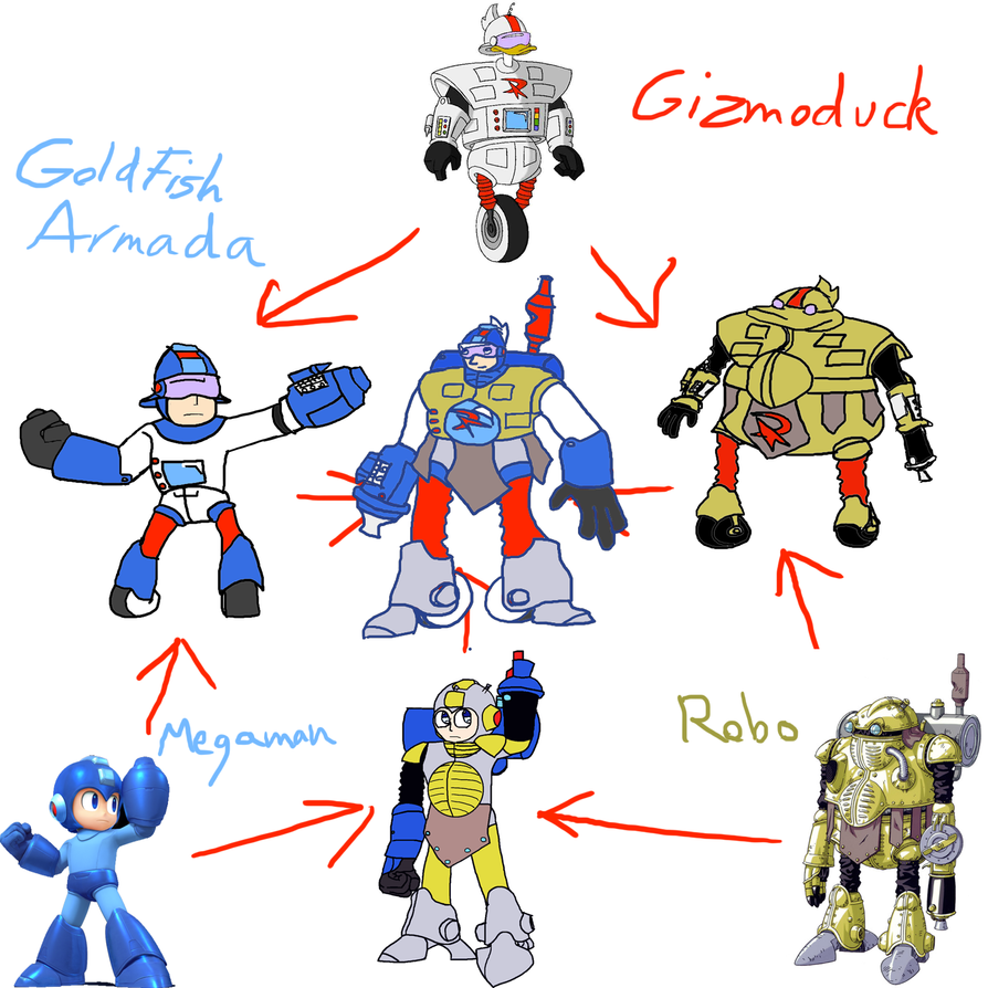 Hexafusion - Megaman Gizmoduck and Robo by GoldFishArmada