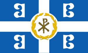 Greek flag under the  Imperium of Rhomania by EmperorAlexander