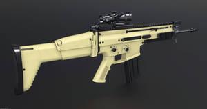 FNH Scar-L ACOG Tan 3D Assault Rifle Gun Model