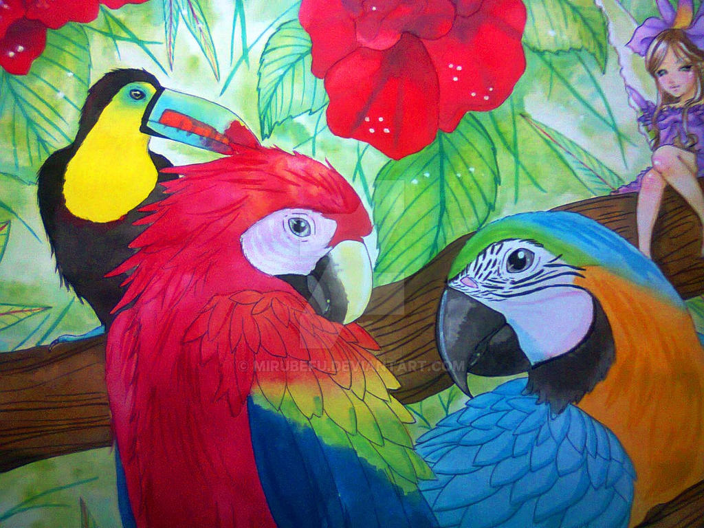 macaws for mommy by Mirubefu