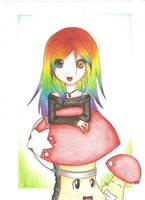- Ambre and her pet-mushroom- by AmbreAkasora