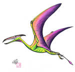 Draw a Flying Dinosaur Colored